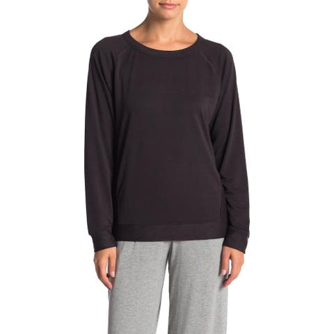 French Connection Women's Long Sleeve Solid Sleepwear Pullover Lounge Sweater - Anthracite Black