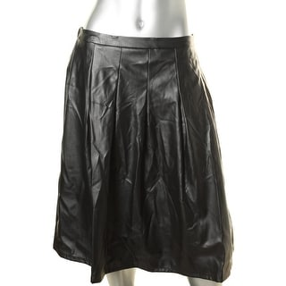 NY Collection Womens Faux Leather Pleated A-Line Skirt