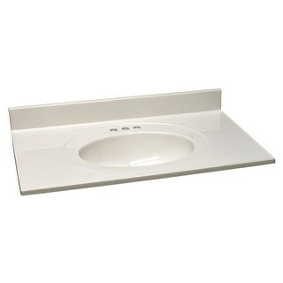 "Design House 551952 43"" Marble Drop-In Vanity Top with Integrated Sink and 3 Fau - White on White"
