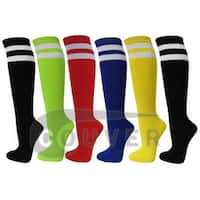 Double Stripes Ladies Colorful Design Knee High Socks Assorted 6-Pack( 9 - 11)