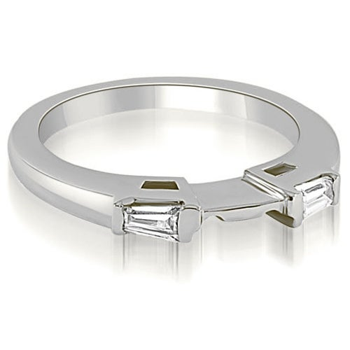 0.15 cttw. 14K White Gold Baguette Cut Diamond Wedding Band