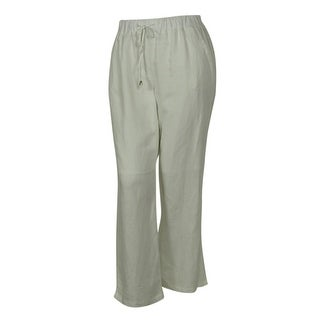 Elementz Women's Linen Blend Elastic Waist Pull On Pants - Flax