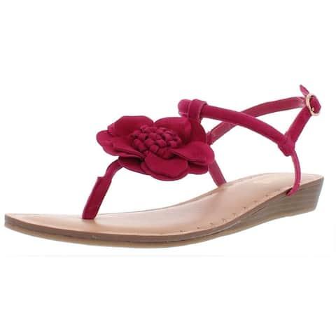 Carlos by Carlos Santana Womens Teagan Flat Sandals Leather Flower