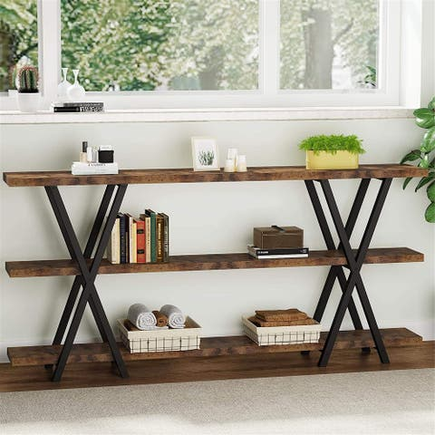70.8 Sofa Console Table, TV Stand, Narrow Long Sofa Table with Storage Shelf