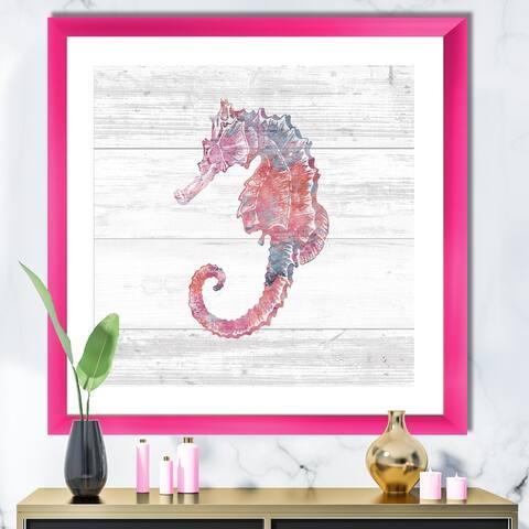 Designart 'Pink seahorses Ocean Life' Nautical & Coastal Premium Framed Art Print