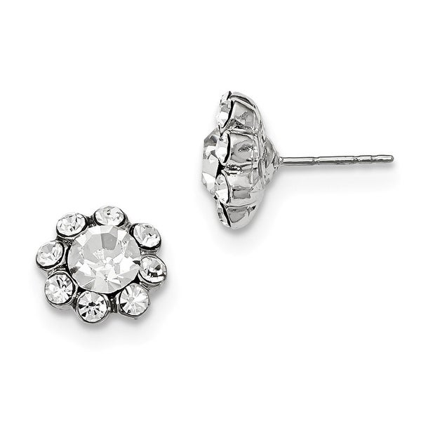 Silvertone Clear Crystal Post Earrings