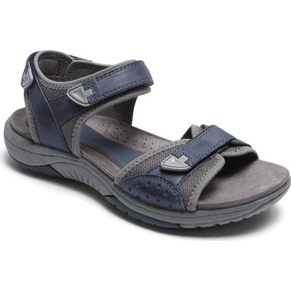 Rockport Women's Franklin Three Strap Sport Sandal Blue Leather