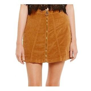 Buffalo David Bitton NEW Golden Brown Womens Size 32 Zip Corduroy Skirt