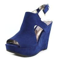Carlos by Carlos Santana Malor Women Open Toe Suede Blue Wedge Sandal - 6.5