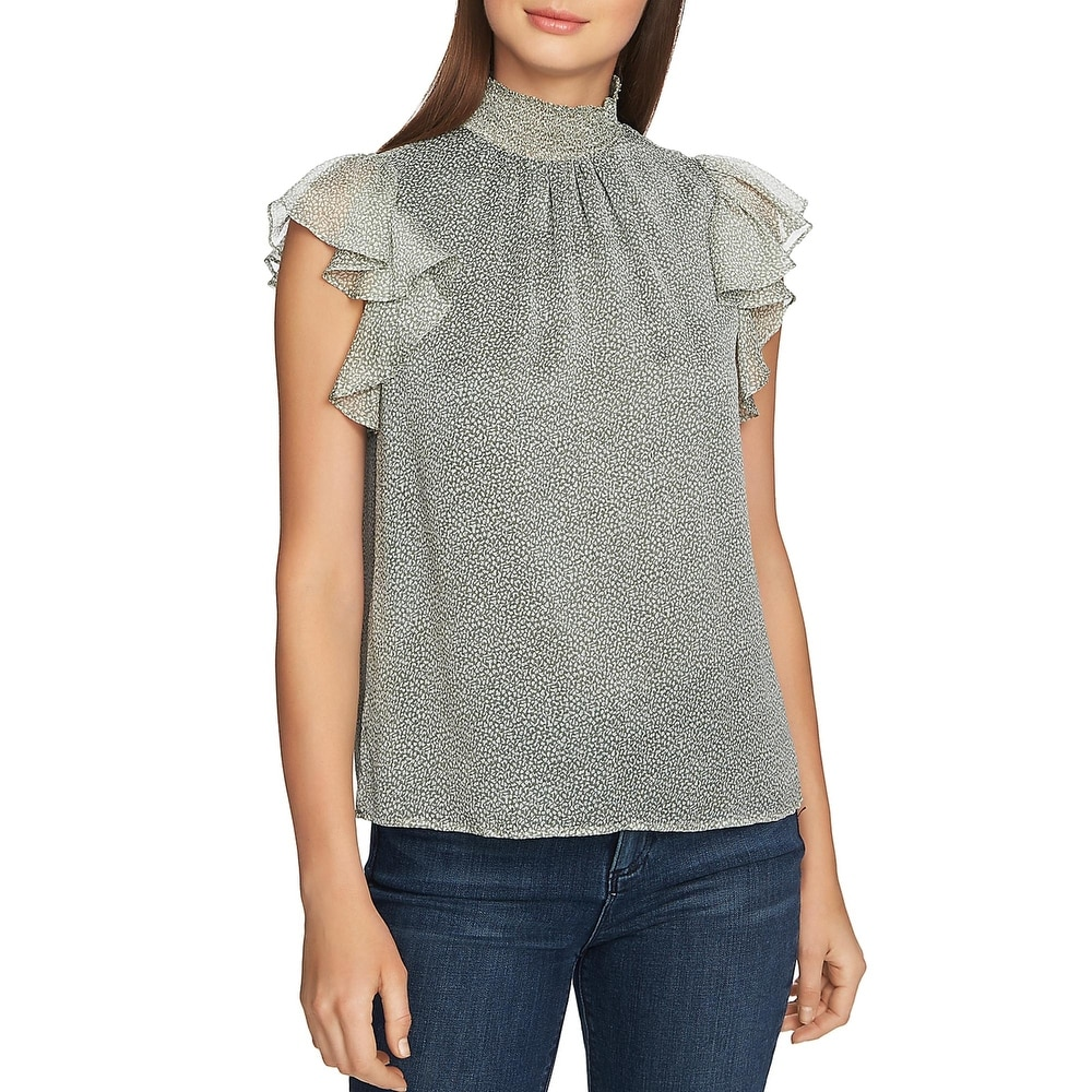 1.State Womens Blouse Flutter Sleeves Printed - Sage Vine