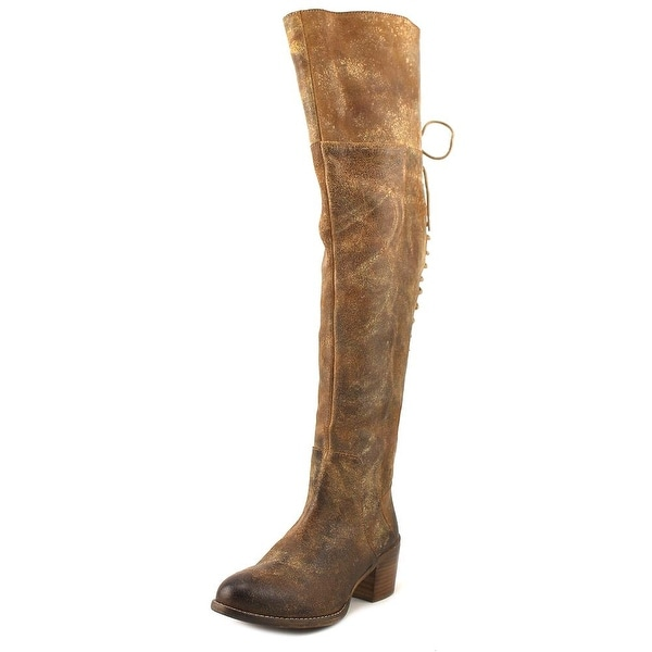 Diba Scary Women Round Toe Leather Brown Over the Knee Boot