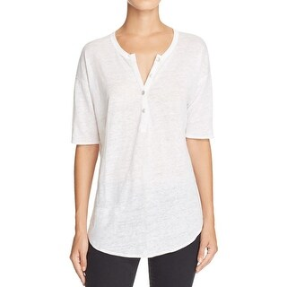 Chaser Womens Casual Top Linen Henley