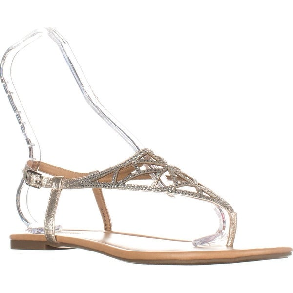 I35 Matisse Buckle Flat Glitter Sandals, Pearl Gold, 10 US, Pearl Gold - 10 us