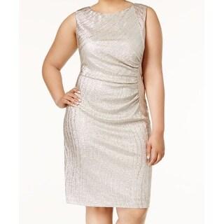Calvin Klein NEW Gold Womens Size 20W Plus Gathered Sheath Dress