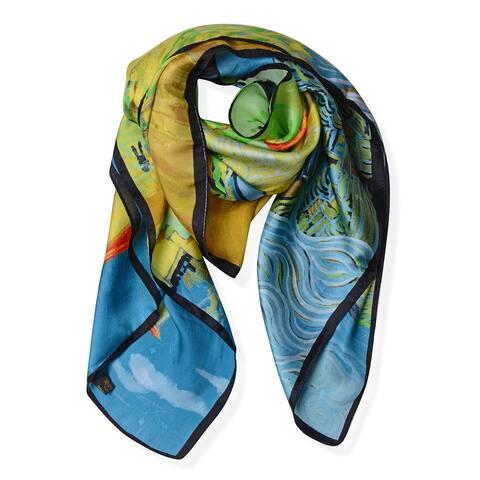 Shop LC Van Gogh Village Oil Painting Printed Hijab Scarf Silk - Medium