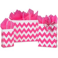 Pack Of 125, Assortment Chevron Stripe Hot Pink Recycled Shopping Bags 50 Rose, 50 Cub & 25 Vogue Made In Usa