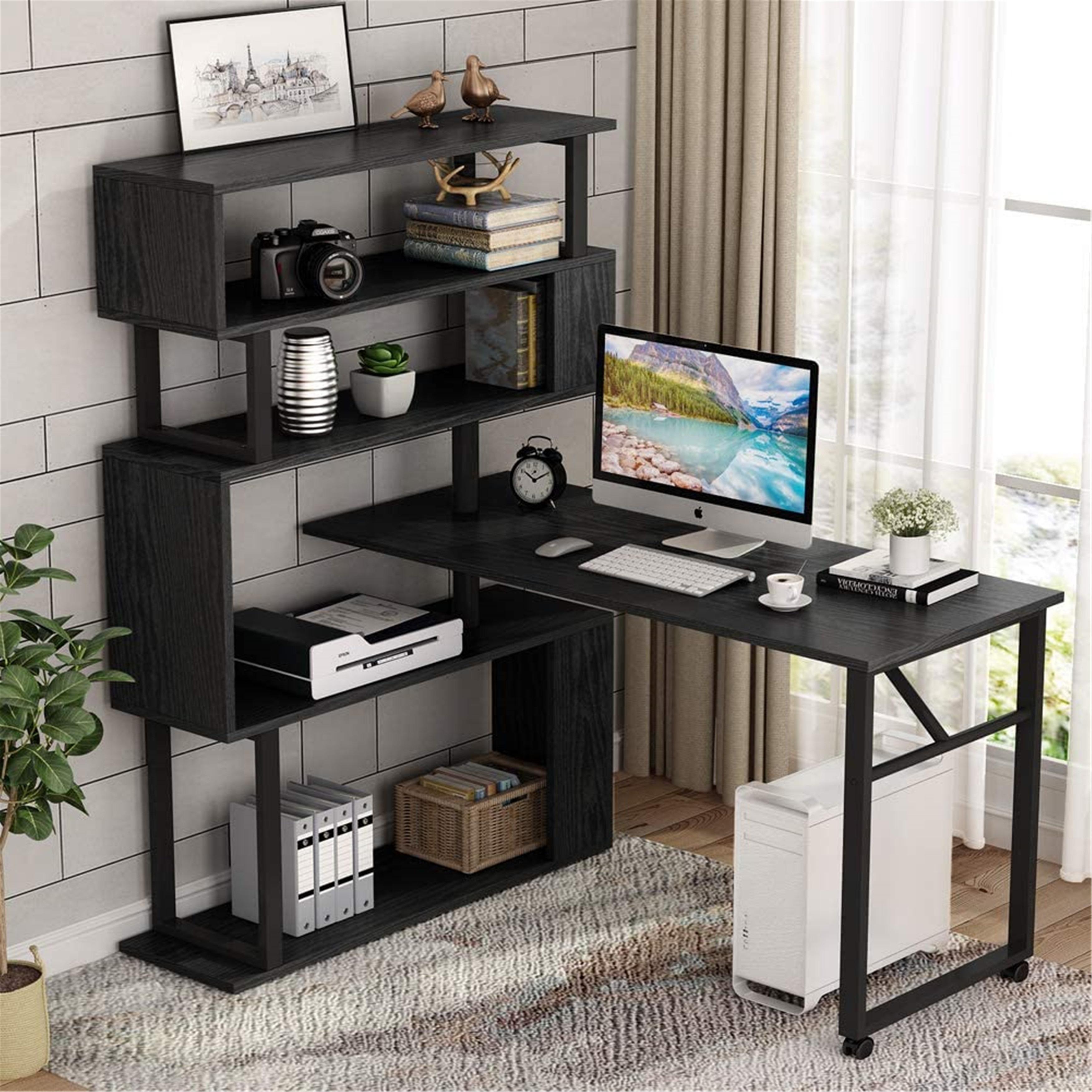 Rotating Computer Desk With 5 Shelves Bookshelf Overstock 31456371 Black