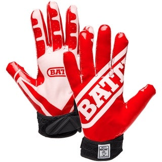 Battle Sports Science Receivers Ultra-Stick Football Gloves - Red/White