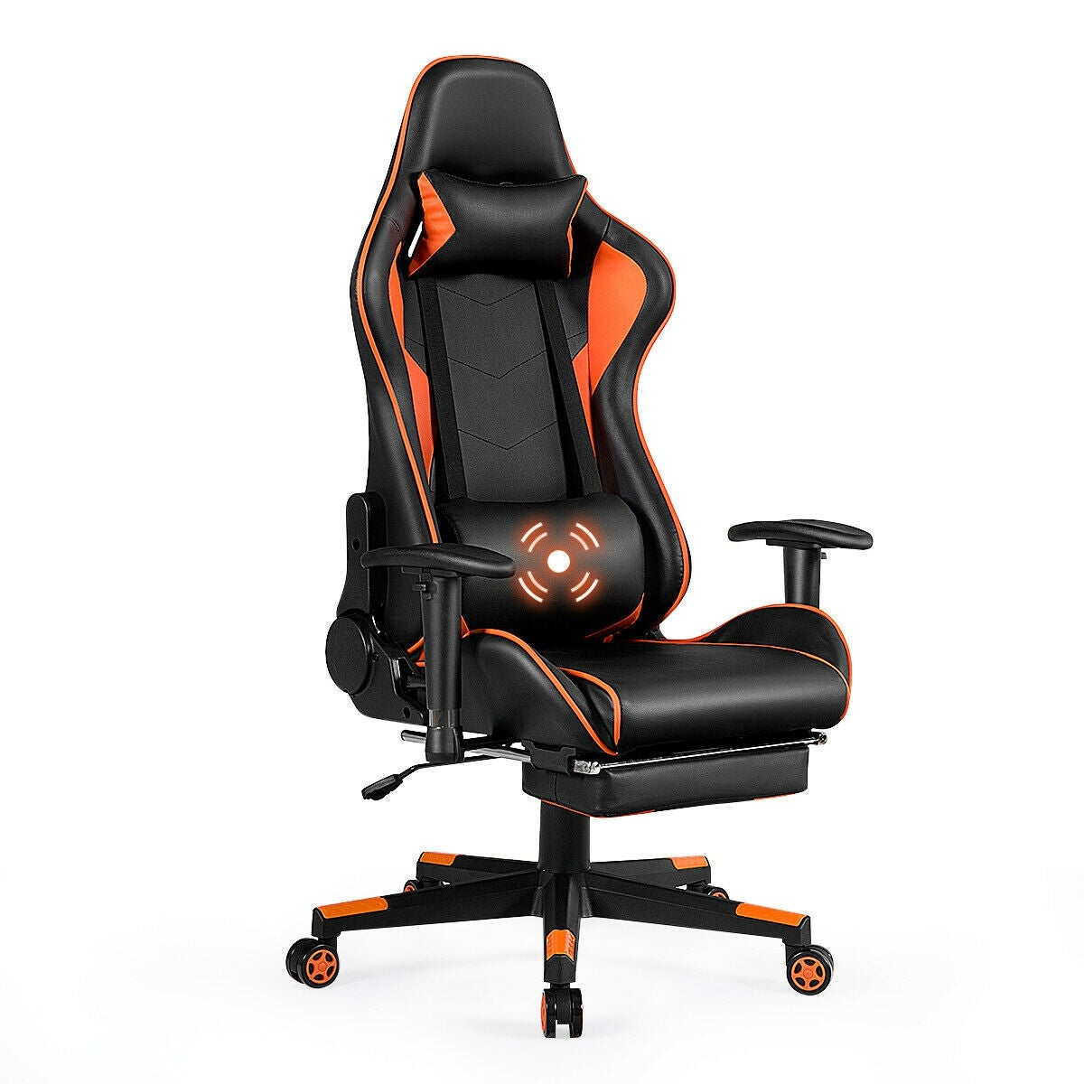 Image of: Orange Lumbar Cushion And Retractable Footrest Gaming Chair Racing Office Chair Computer Desk Chair Executive And Ergonomic Reclining Swivel Chair With Headrest Talkingbread Co Il