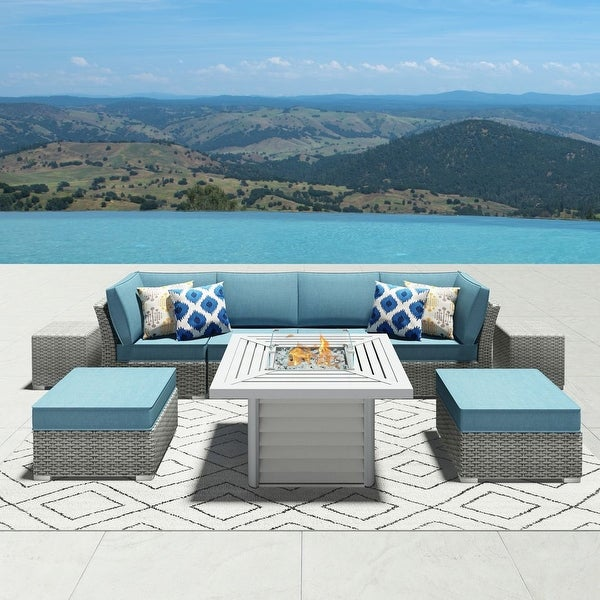 Shop Corvus 9-piece Grey Wicker Patio Sectional ...