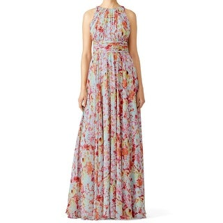 Badgley Mischka NEW Pink Women's Size 2 Floral Utopia Maxi Silk Dress