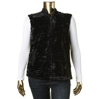 Alfred Dunner Womens Faux Fur Mixed Media Vest - 16