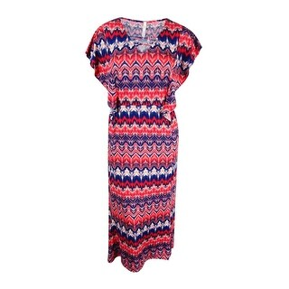 NY Collection Women's Plus Size Flutter-Sleeve Printed Maxi Dress (2X, Coral) - Coral - 3x