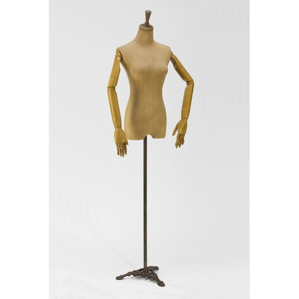 """70"""" Adult Woman Body Form Mannequin with Posable Arms and Antiqued Iron Pedestal Base - N/A"""