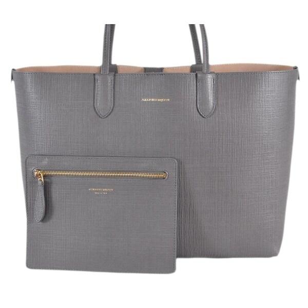 1410ffe7499bb5 Alexander Mcqueen Grey Embossed Calf Leather MEDIUM Shopper Purse W/Pouch