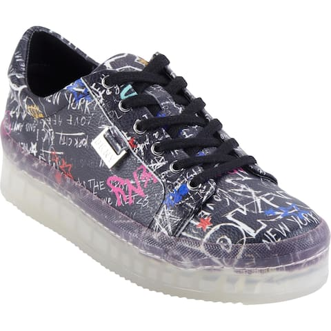 DKNY Womens EMZ Fashion Sneakers Leather Lace-Up
