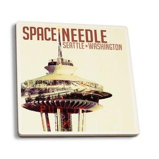 Seattle WA Space Needle Double Exposure LP Artwork (Set of 4 Ceramic Coasters)