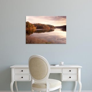Easy Art Prints Gayle Harper's 'Fall Colors Are Reflected In Lake' Premium Canvas Art