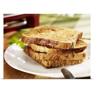Poster Print entitled Stacked toast on plate, close-up