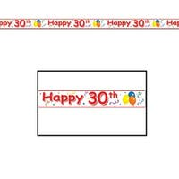 "Club Pack of 12 ''Happy 30th'' Birthday Party Tape 3"" x 20' - Red"
