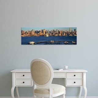 Easy Art Prints Panoramic Image 'Midtown Manhattan, NY skyline, Hudson River and harbor, from Weehawken, NJ' Canvas Art