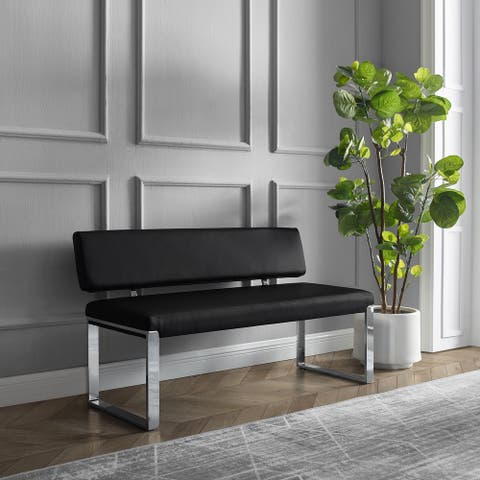 Maryam Upholstered Bench with Chrome Square Legs