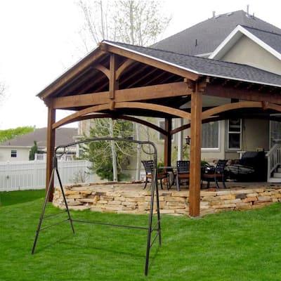 "72"" Outdoor Garden Iron Art Swing Frame Bronze"