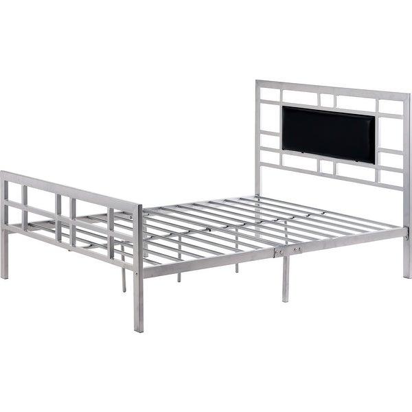 Full size Silver Metal Platform Bed Frame with Upholstered Headboard