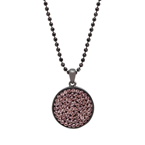 Crystaluxe Circle Pendant with Swarovski elements Crystals in Oxidized Sterling Silver