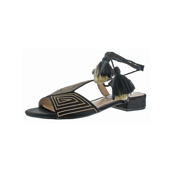 Kensie Womens Katara Flat Sandals Embroidered Tassel
