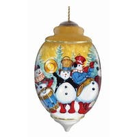 "5.5"" Ne'Qwa ""Snowman Band"" Hand-Painted Glass Christmas Ornament #7131160 - multi"