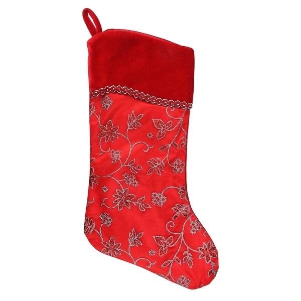 "20.5"" Red and Silver Glittered Floral Christmas Stocking with Shadow Velveteen Cuff"