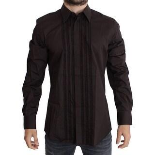 Dolce & Gabbana Purple Cotton Silk GOLD Dress Shirt - 41