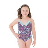 Girls Blue Paisley Pattern Boho Chic Ruffle One Piece Swimsuit
