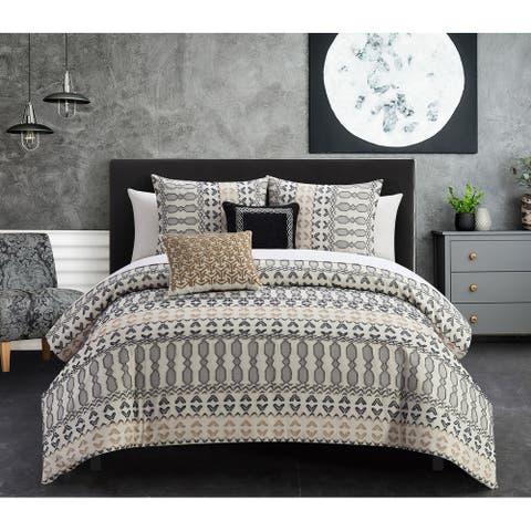 Chic Home Liliana 5 Piece Farmhouse Theme Geometric Striped Pattern Comforter Set