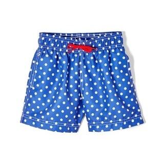 Azul Baby Boys Blue Polka Dot Drawstring Focal Point Swim Shorts