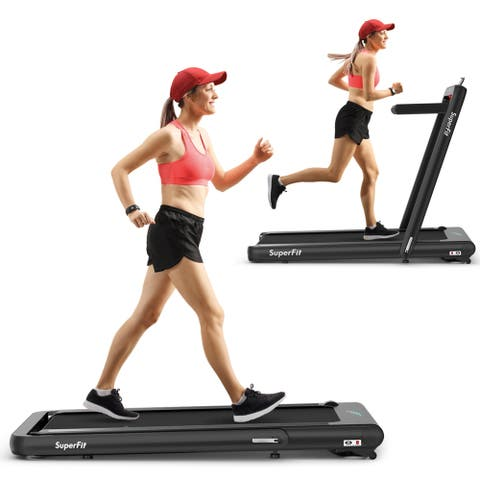 Gymax 2 In 1 Folding Treadmill 4 75Hp Running Machine W/ App & Remote Control