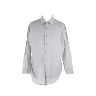 Calvin Klein Steel Grey Textured Stretch Dress Shirt 15.5 34-35 M