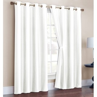 Radiance 2 Pack Faux Silk Room Darkening Grommet Panel, White, 52x90 Inches - N/A