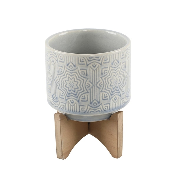 """Mid-Century 4.25"""" Star Ceramic on Stand,Glass Blue. Opens flyout."""